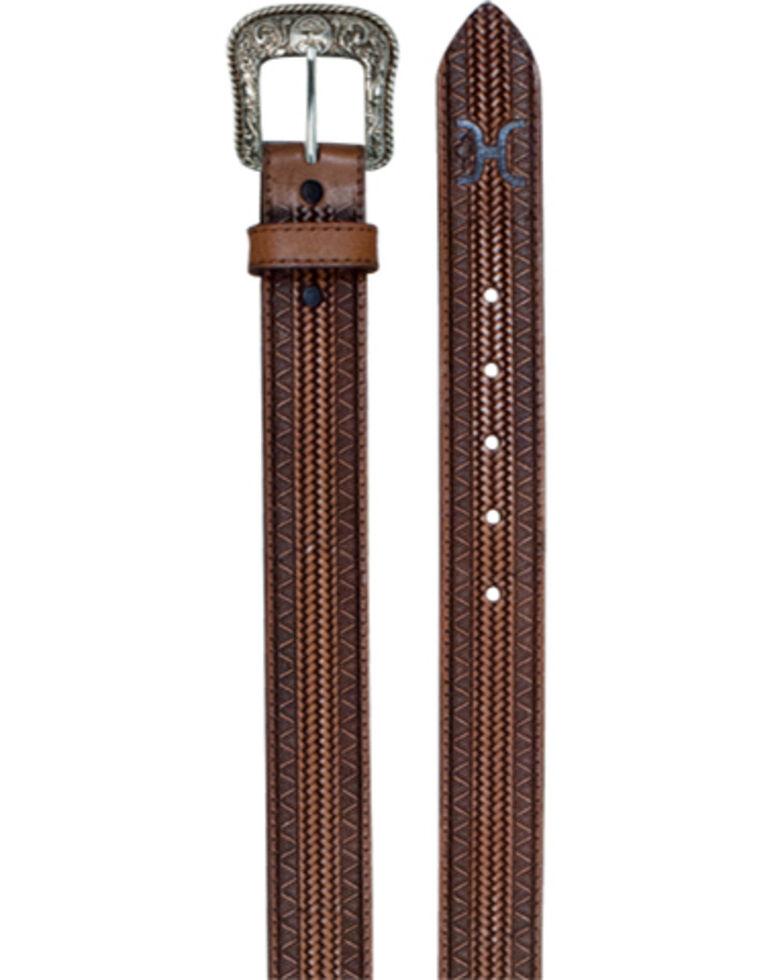 HOOey Men's Ornate Geometric Tooled Belt, Brown, hi-res