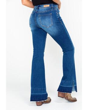 Grace In LA Women's Light Mid Rise Trouser Jeans , Blue, hi-res