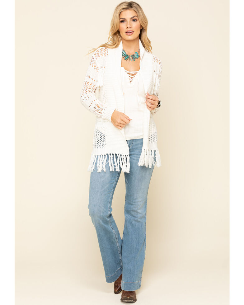 Idyllwind Women's No Chill Fringe Crochet Cardigan, Cream, hi-res