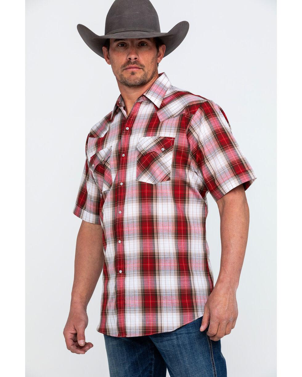 Ely Cattleman Men's Rust Plaid Short Sleeve Western Shirt , Medium Red, hi-res