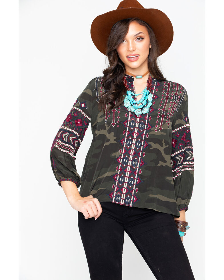 Johnny Was Women's Camo Nakoma Paris Embroidered Long Sleeve Blouse , Camouflage, hi-res