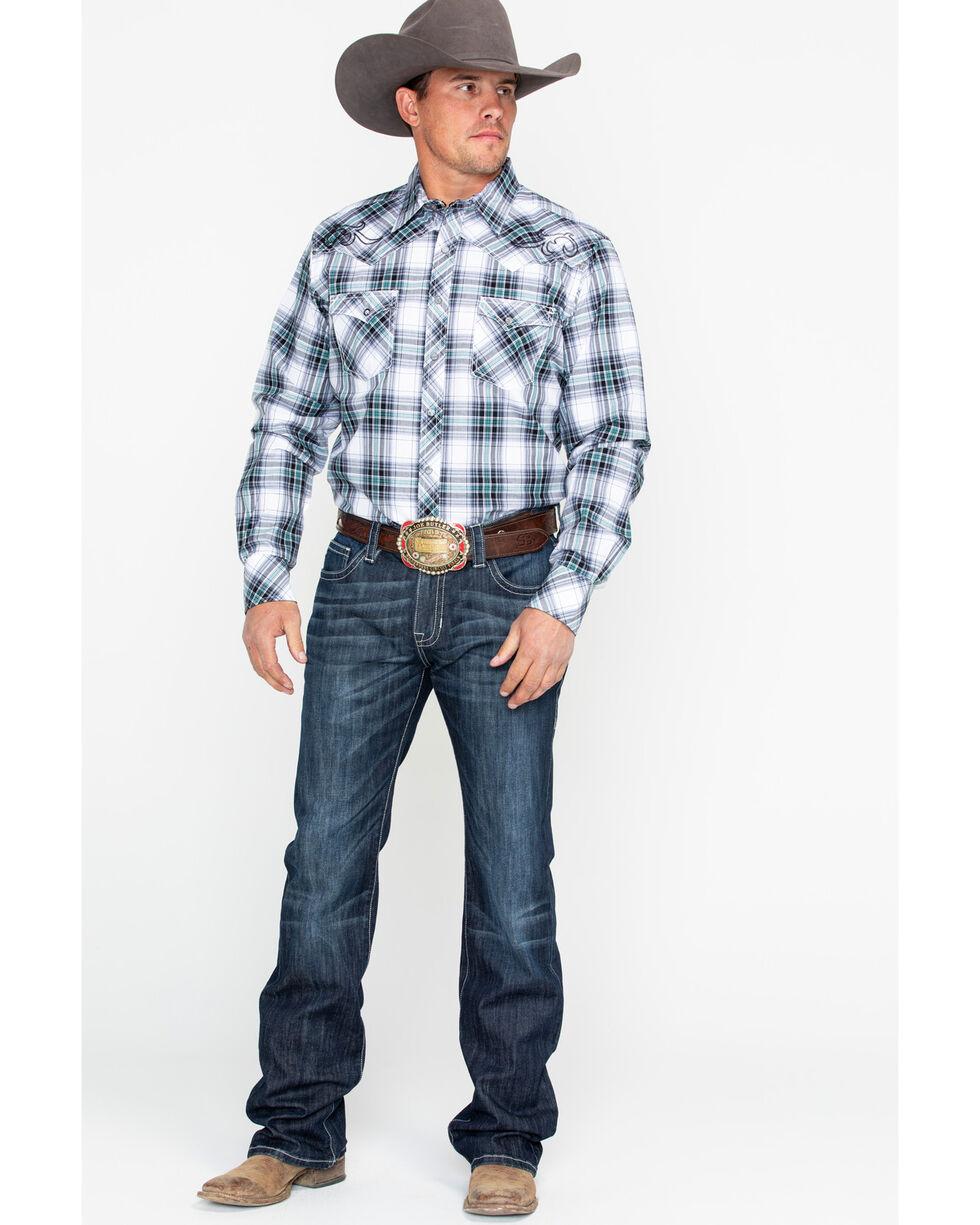 Rock & Roll Cowboy Men's Denim Reflex Pistol Large Curved Boot Jeans, Dark Blue, hi-res