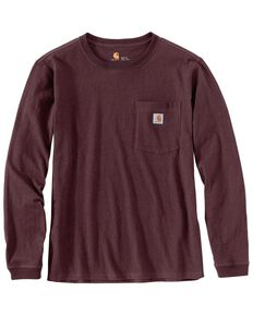 Carhartt Women's Workwear Pocket Long-Sleeve T-Shirt - Plus, Wine, hi-res