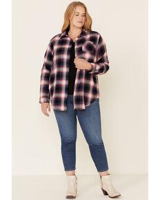 Ely Walker Women's Assorted Plaid Long Sleeve Western Flannel Shirt - Plus, Burgundy, hi-res