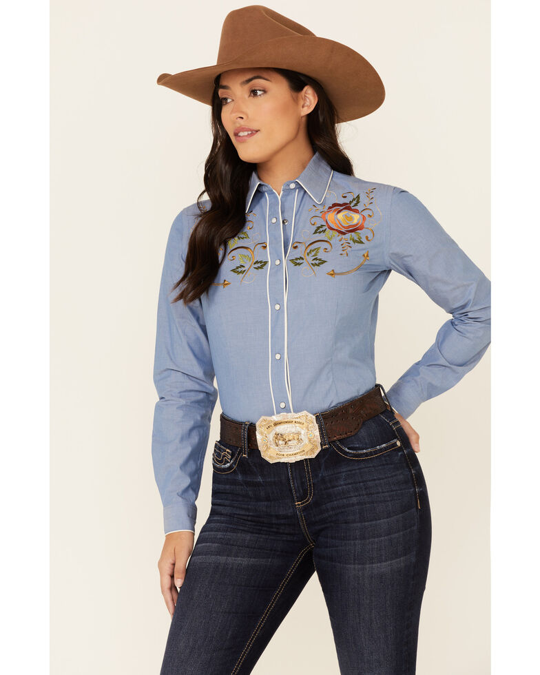 Rough Stock By Panhandle Women's Blue Chambray Rose Embroidered Long Sleeve Snap Western Core Shirt , Blue, hi-res