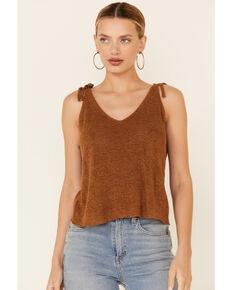 Wishlist Women's Sweater-Knit Tie Strap Tank Top , Cognac, hi-res