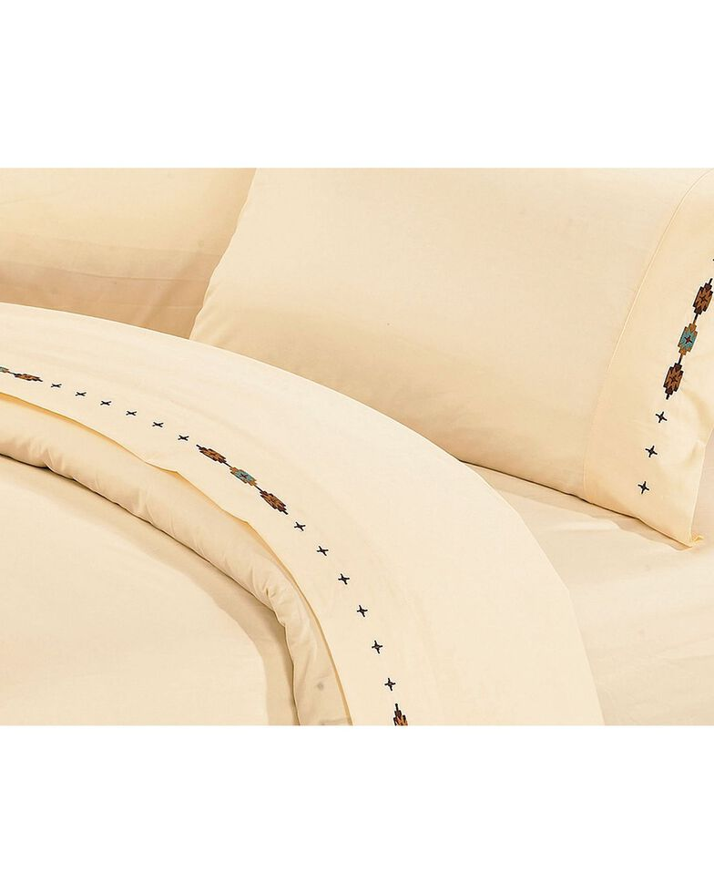 HiEnd Accents Cross Embroidered Cream Sheet Set - Queen, Cream, hi-res