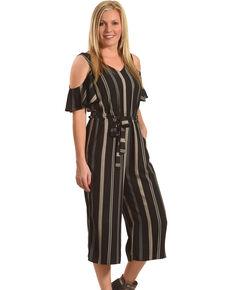 e86f938fac9b Eyeshadow Women s Striped Cold Shoulder Gaucho Jumpsuit