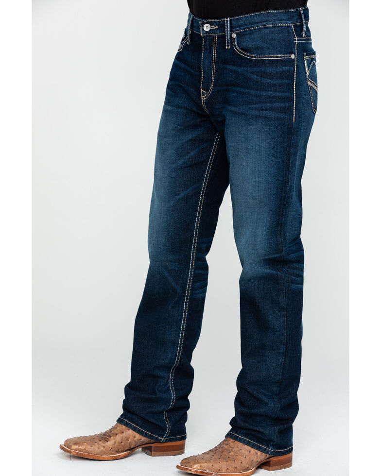 Cinch Men's Grant Rinse Mid Relaxed Bootcut Jeans , Indigo, hi-res