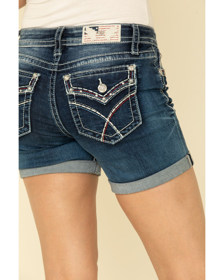 Miss Me Women's Dark Wash X-Stitch Americana Shorts, Blue, hi-res