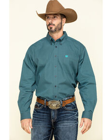 Cinch Men's Grey Small Geo Print Long Sleeve Western Shirt , Grey, hi-res