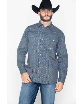 Roper Men's Original Indigo Blues Geo Print Long Sleeve Western Shirt , Navy, hi-res