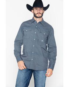 Roper Men's Original Indigo Blues Geo Print Long Sleeve Western Shirt , Navy, hi-res