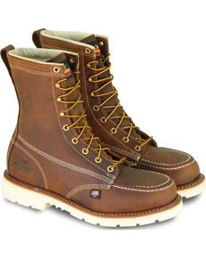 "Thorogood Men's American Heritage Classics 8"" Moc Toe Work Boots - Steel Toe, Brown, hi-res"