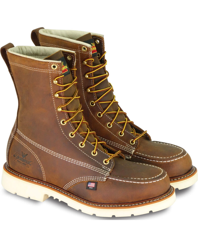 "Thorogood Men's American Heritage Classics 8"" Moc Toe Work Boots - Steel Toe, Brown, hi-res"