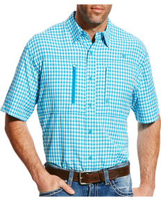 Ariat Men's Blue Venttek Short Sleeve Western Shirt , Turquoise, hi-res