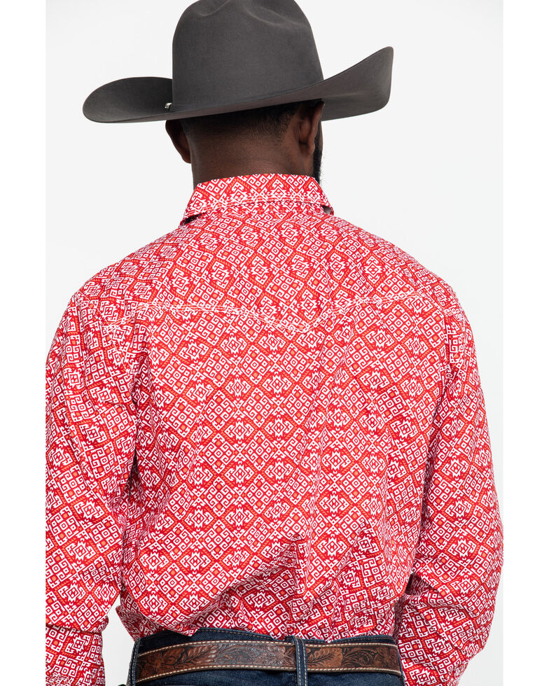 Wrangler 20X Men's Advanced Comfort Red Large Geo Print Long Sleeve Western Shirt , Red, hi-res