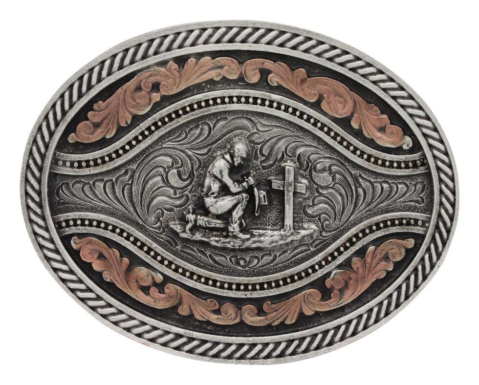 Montana Silversmiths Men's Praying Cowboy Classic Two Tone Attitude Channel Belt Buckle, Silver, hi-res