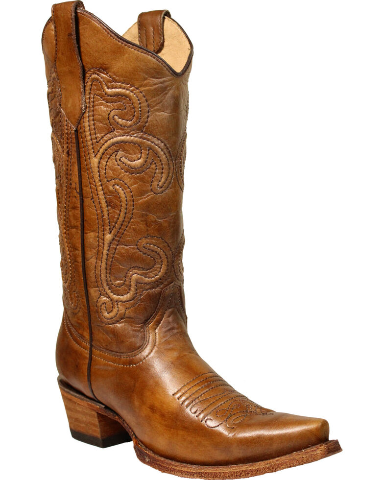 Circle G Women's Brown Corded Cowgirl Boots - Snip Toe, Brown, hi-res