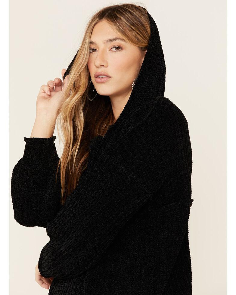 POL Women's Chenille Hooded Henley Sweater , Black, hi-res