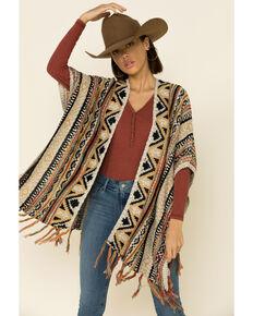 Angie Women's Aztec Stripe Open Sweater Knit Kimono, Tan, hi-res