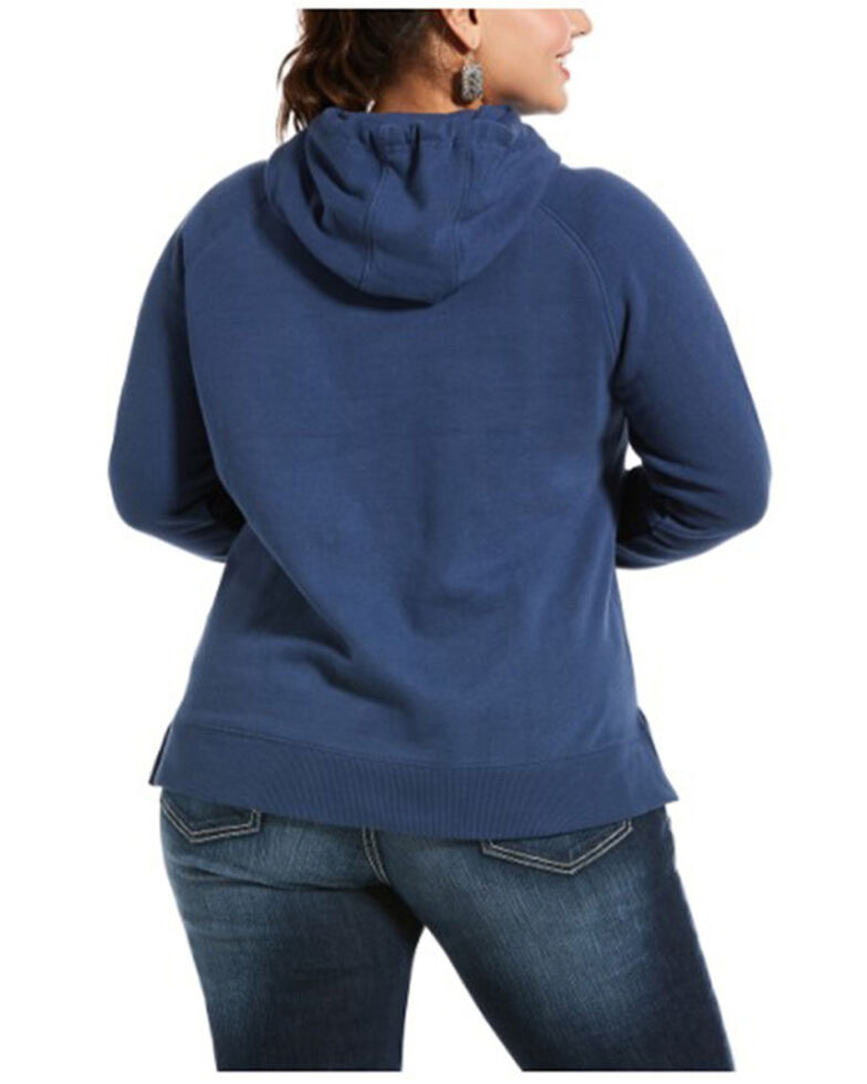 Ariat Women's Marine Blue R.E.A.L. Serape Logo Hoodie Sweatshirt - Plus, Navy, hi-res