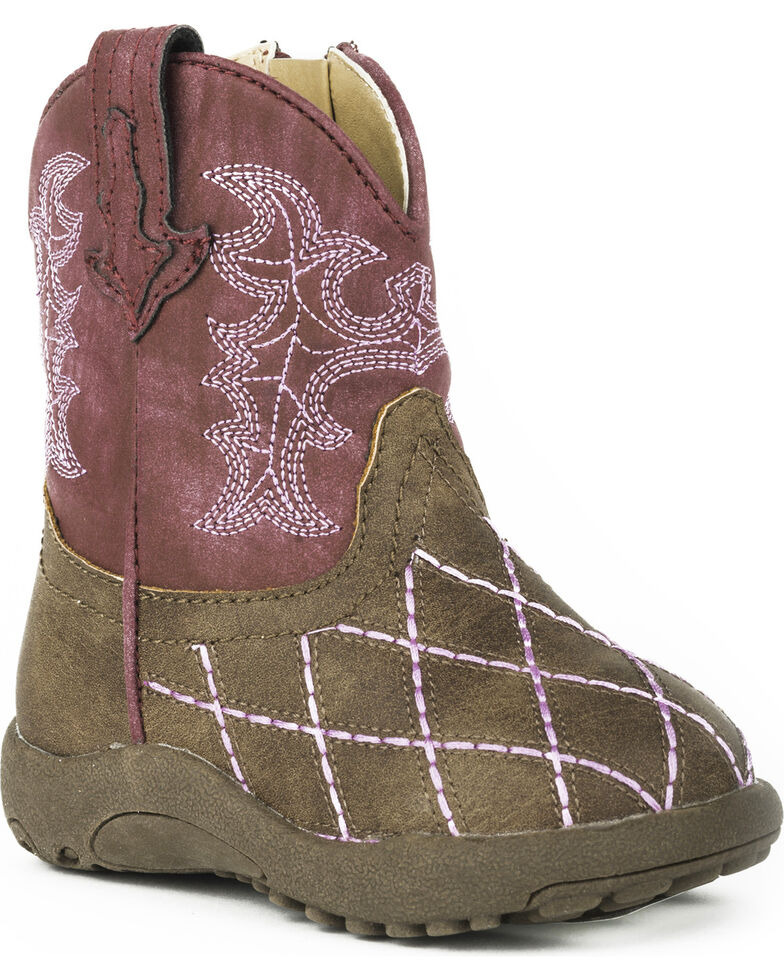 Roper Infant Girls' Cowbaby Cross Cut Pre-Walker Cowgirl Boots - Round Toe, Brown, hi-res