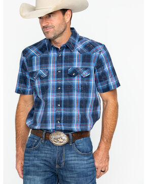 Cody James Men's Campus Plaid Short Sleeve Western Snap Shirt, Navy, hi-res