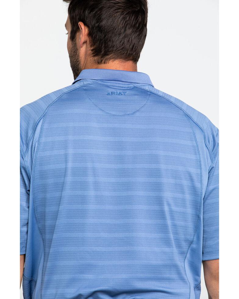 Ariat Men's Blue Heather Stripe AC Short Sleeve Polo Shirt , Blue, hi-res