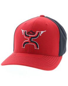HOOey Men's Red Gunner Flex Fit Ball Cap , Red, hi-res
