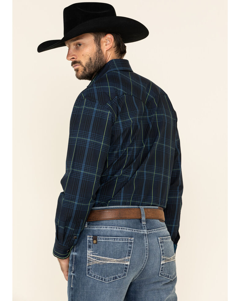 Rough Stock By Panhandle Men's Larkspur Ombre Plaid Long Sleeve Western Shirt , Black, hi-res