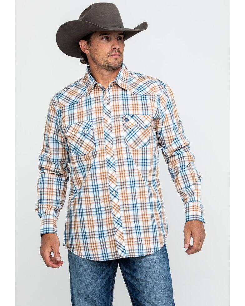 Wrangler Retro Men's Multi Med Plaid Long Sleeve Western Shirt , Blue, hi-res