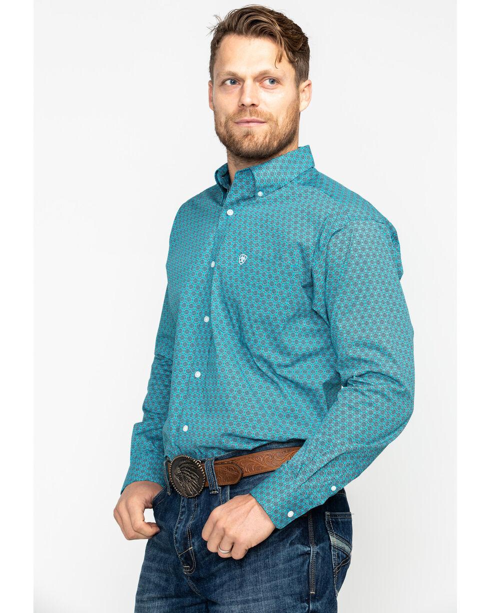Ariat Men's Caidan Stitch Floral Print Long Sleeve Western Shirt , Blue, hi-res