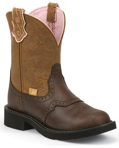 Justin Gypsy Women's Gemma Cafe Brown Cowgirl Boots - Round Toe, Tan, hi-res