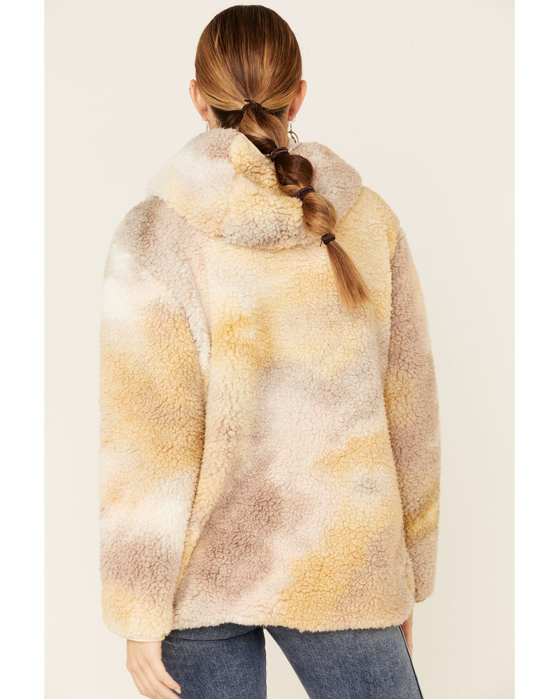 Peach Love Women's Tie Dyed Reversible Hooded Sherpa Cardi Sweater , Brown, hi-res
