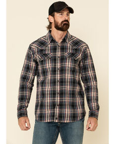 Moonshine Spirit Men's Ritual Large Dobby Plaid Long Sleeve Western Flannel Shirt , Black, hi-res