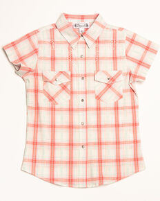 Shyanne Girls' Plaid Woven Short Sleeve Shirt, Ivory, hi-res