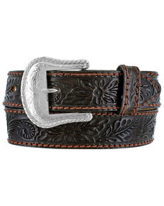 Tony Lama Men's Chocolate Floral Tooled Western Belt, Chocolate, hi-res