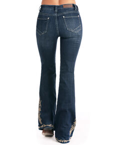 Rock & Roll Cowgirl Women's High Rise Floral Embroidered Trouser, Indigo, hi-res