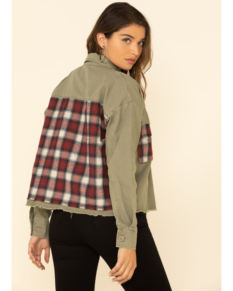 By Together Women's Oilve Plaid Patch Button Front Shacket , Olive, hi-res