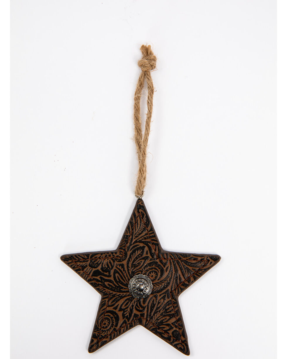 BB Ranch Tooled Star Ornament, Brown, hi-res