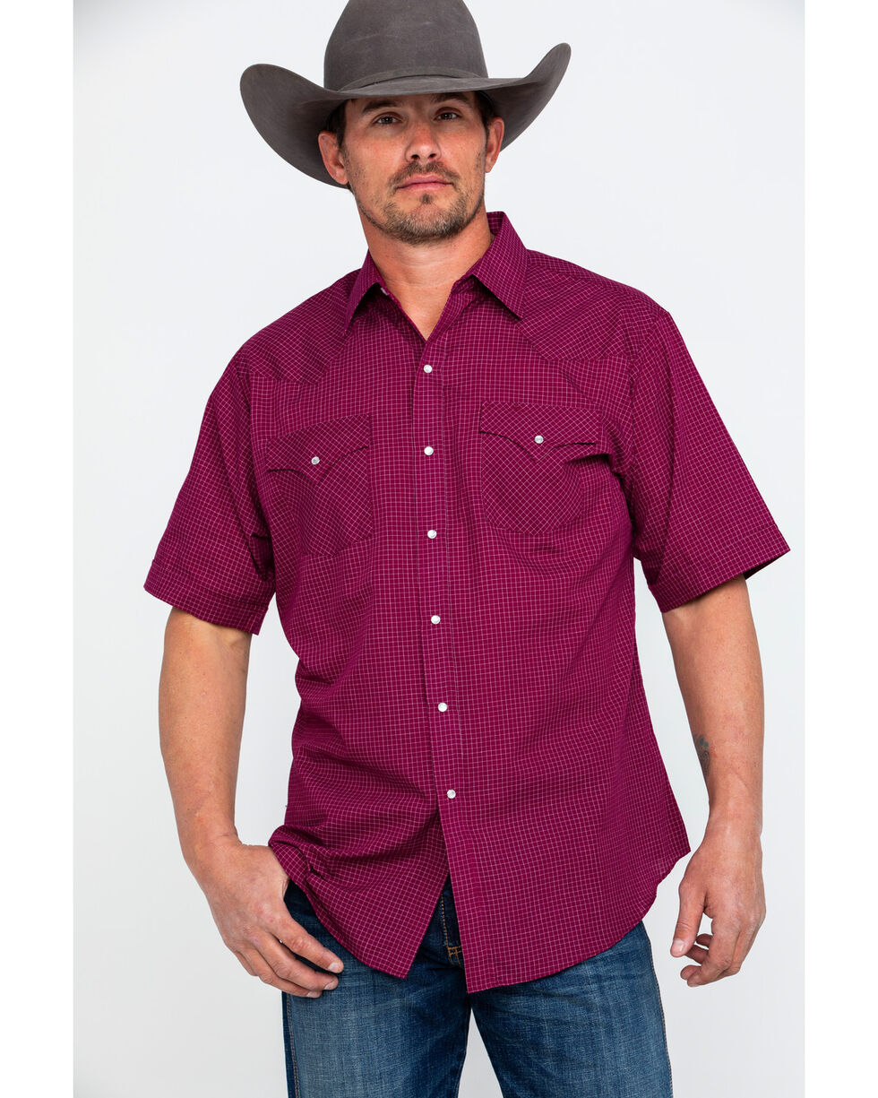 Ely Cattleman Men's Small Check Plaid Short Sleeve Western Shirt , Burgundy, hi-res