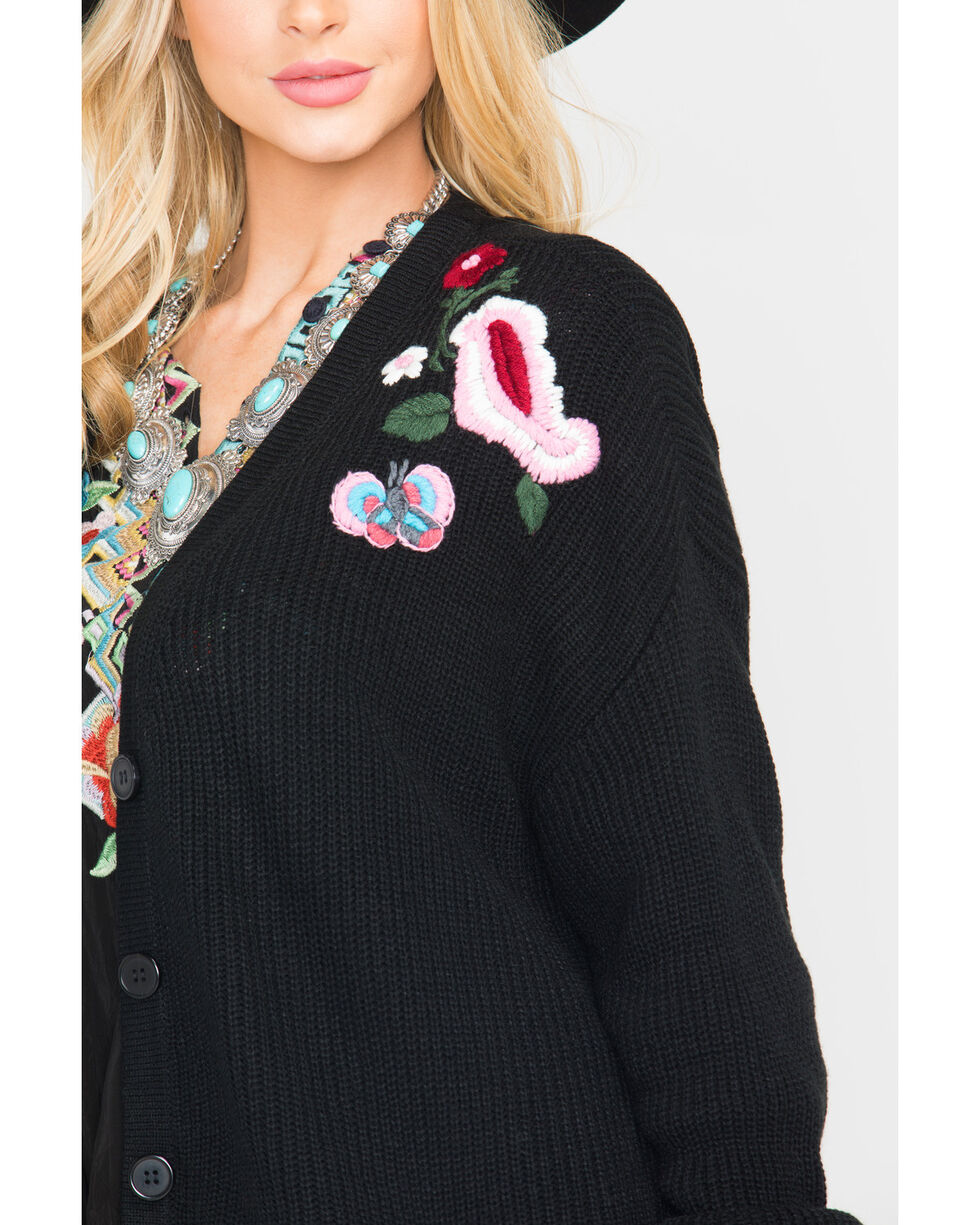 Miss Me Women's Black Floral Embroidered Sweater , Black, hi-res