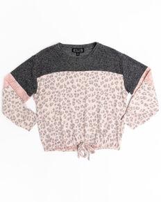 Shyanne Girls' Leopard Print Hacci Sweatshirt , Pink, hi-res