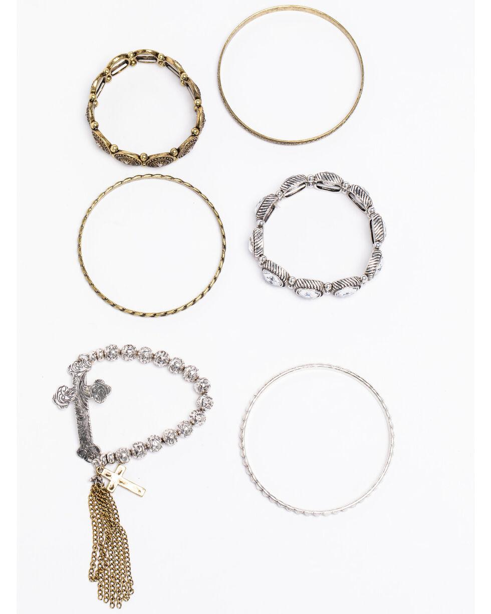 Shyanne Women's 2-Tone Cross Tassel Bracelet Stack, Silver, hi-res