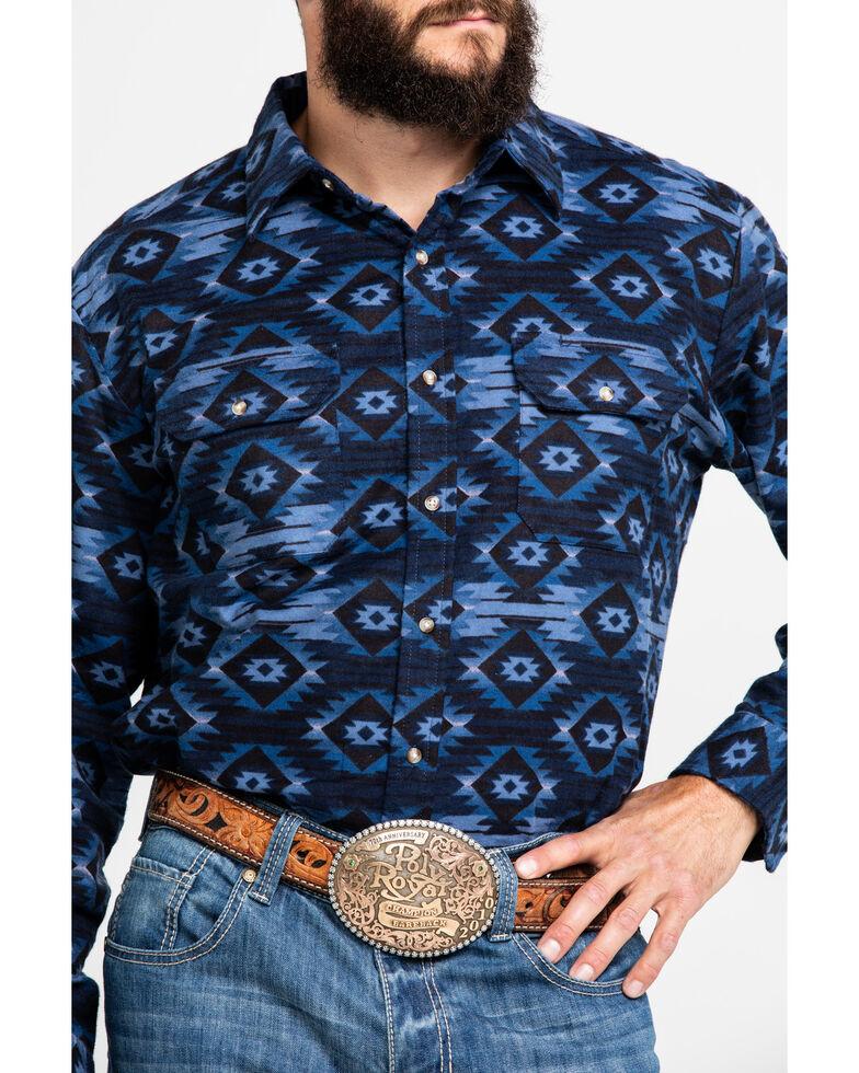 Ely Walker Men's Blue Aztec Print Long Sleeve Western Flannel Shirt - Tall, Blue, hi-res