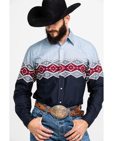 Roper Men's Aztec Border Print Long Sleeve Western Shirt , Grey, hi-res