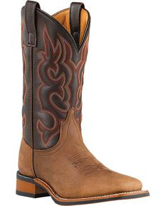 Laredo Lodi Cowboy Boots - Wide Square Toe, Taupe, hi-res