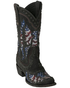Lane Men's Old Glory Western Boots - Snip Toe, Black, hi-res