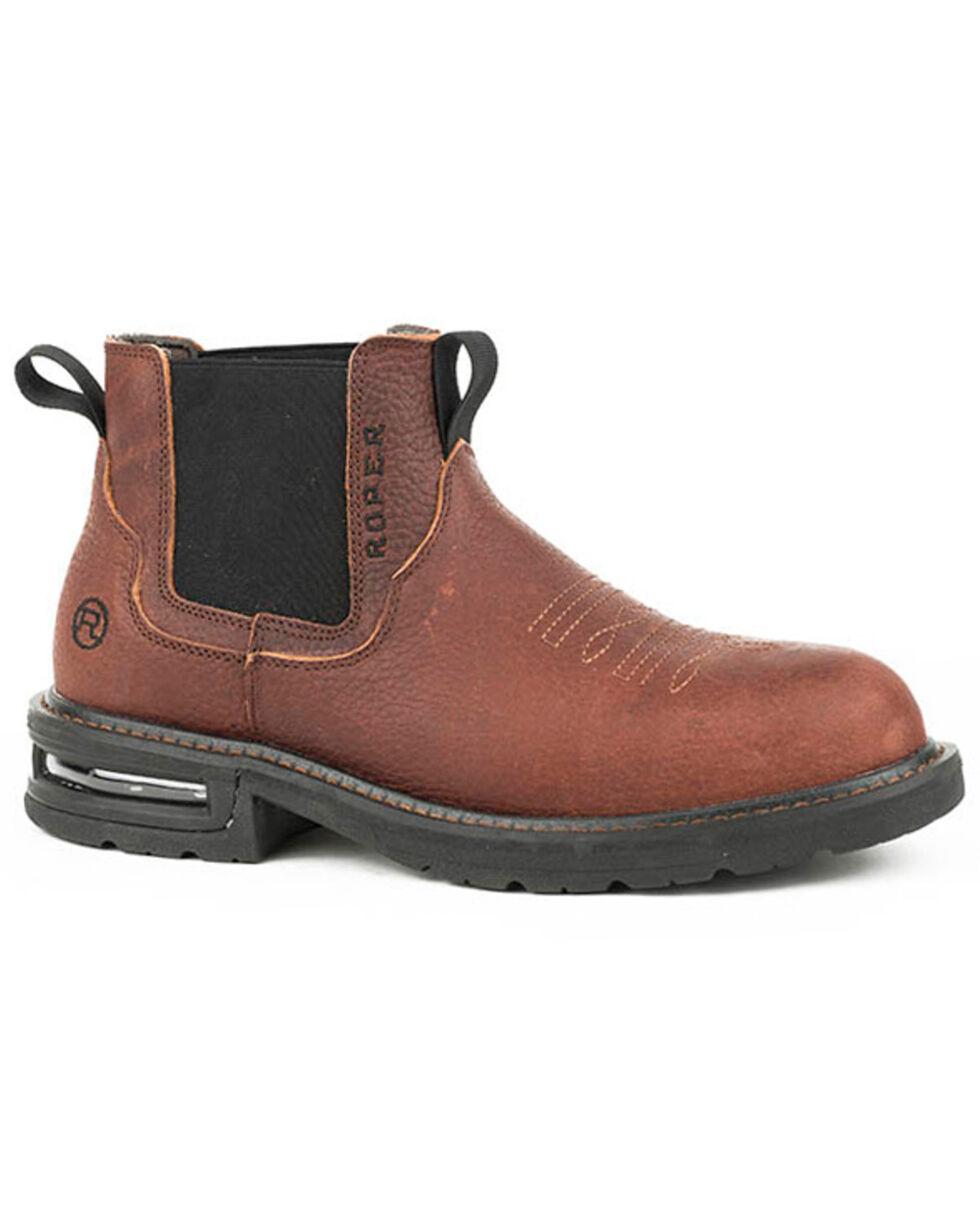 Roper Men's Worker Slip-On Work Shoes - Soft Toe, Brown, hi-res